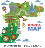 korea map vector korean... | Shutterstock .eps vector #1417912640
