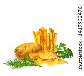 french fries whit green plants... | Shutterstock .eps vector #1417932476