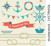 collection of nautical symbols. ... | Shutterstock .eps vector #141796426