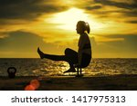 abstrac.silhouette yoga... | Shutterstock . vector #1417975313