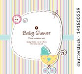 baby boy arrival card with copy ... | Shutterstock .eps vector #141800239