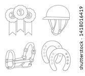 vector design of horseback and... | Shutterstock .eps vector #1418016419