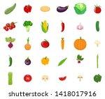 set of vegetables isolated on... | Shutterstock .eps vector #1418017916
