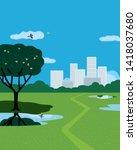 summer city park flat color... | Shutterstock .eps vector #1418037680