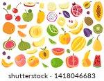 fruits isolated. cherry orange... | Shutterstock . vector #1418046683