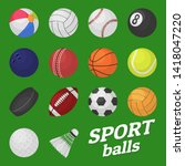 ball game set. sport and games... | Shutterstock . vector #1418047220