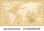 vintage world map. ancient... | Shutterstock . vector #1418048249