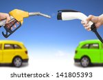 electric car and gasoline car... | Shutterstock . vector #141805393