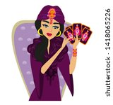 fortune teller forecasting with ... | Shutterstock . vector #1418065226