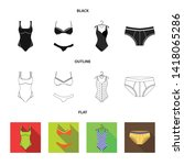 isolated object of bikini and...   Shutterstock .eps vector #1418065286