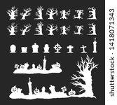halloween silhouettes of... | Shutterstock .eps vector #1418071343