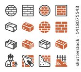 brick and construction icon set ... | Shutterstock .eps vector #1418075543