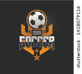 soccer football badge orange... | Shutterstock .eps vector #1418079116