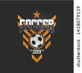 soccer football badge orange... | Shutterstock .eps vector #1418079119