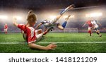 female soccer players performs... | Shutterstock . vector #1418121209