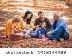 multl generation family in... | Shutterstock . vector #1418144489