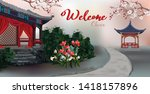 The pavilion with tree ,plum blossom flowers in the garden and welcome texts - vector