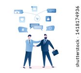 businessmen handshake ... | Shutterstock .eps vector #1418174936