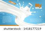 realistic glass bottle in milk... | Shutterstock .eps vector #1418177219