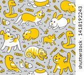 pet shop  doodle pattern...   Shutterstock .eps vector #1418192243