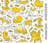 pet shop  doodle pattern...   Shutterstock .eps vector #1418192246