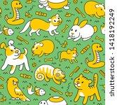pet shop  doodle pattern...   Shutterstock .eps vector #1418192249