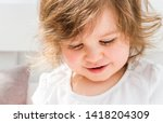 beautiful smiling blonde baby... | Shutterstock . vector #1418204309