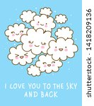 poster with cute cartoon clouds ... | Shutterstock .eps vector #1418209136