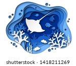 Underwater Paper Cut. Ocean...