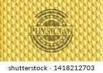 physician gold shiny badge....   Shutterstock .eps vector #1418212703