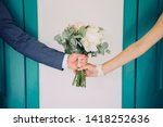 bride with the groom holding... | Shutterstock . vector #1418252636