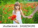 children girl in a field with... | Shutterstock . vector #1418254190