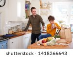 father and son coming home from ... | Shutterstock . vector #1418266643