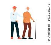 volunteer man helps the elderly ...   Shutterstock .eps vector #1418286143