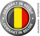 made in belgium flag metal icon  | Shutterstock .eps vector #1418292233