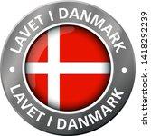 made in denmark flag metal icon  | Shutterstock .eps vector #1418292239