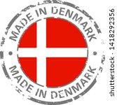 made in denmark flag grunge icon | Shutterstock .eps vector #1418292356