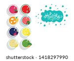 healthy smoothie juice... | Shutterstock .eps vector #1418297990