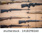 close up shot of some rifles on ... | Shutterstock . vector #1418298260