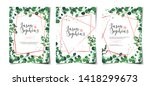 set of wedding invitation... | Shutterstock .eps vector #1418299673