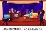 tv night show with guest.... | Shutterstock .eps vector #1418310146