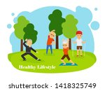 old people healthy lifestyle... | Shutterstock . vector #1418325749