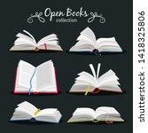open books. new open book set... | Shutterstock . vector #1418325806