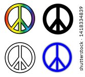 peace symbols  isolated on... | Shutterstock . vector #1418334839