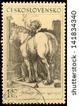 Small photo of CZECHOSLOVAKIA - CIRCA 1969: A stamp printed by Czechoslovakia shows image of ancient engraving of a horse and rider, by Albrecht Durer, circa 1969.