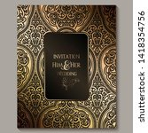 wedding invitation card with... | Shutterstock .eps vector #1418354756
