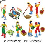 set of farmers or agricultural... | Shutterstock .eps vector #1418399069