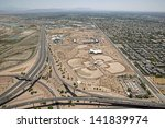 Construction of park and ball field viewed from above in Mesa, Arizona - stock photo