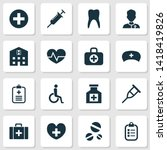 antibiotic icons set with... | Shutterstock . vector #1418419826