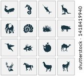fauna icons set with hogfish ... | Shutterstock . vector #1418419940